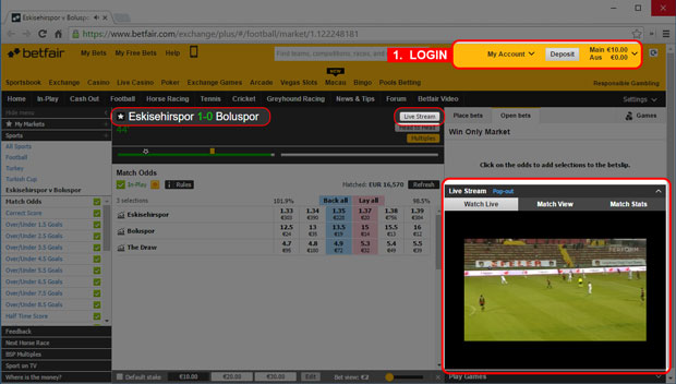 How to watch livestream matches online at Betfair