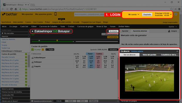 Como ver partidos en línea en directo en Betfair livestream