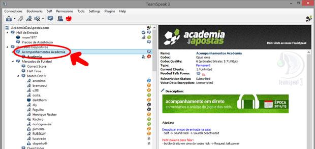 TeamSpeak entrar no canal do Acompanhamentos Academia