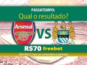 Ganhe 70 reais por acertar o resultado do Arsenal vs Manchester City