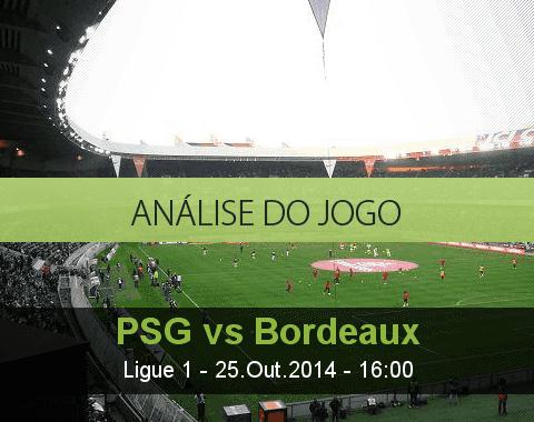 Análise do jogo: PSG vs Bourdeaux (25 Outubro 2014)