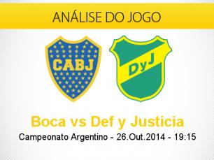 Análise do jogo: Boca Juniors X Defensa y Justicia (26 Outubro 2014)