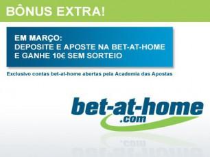 Jogue na bet-at-home em março e ganhe um bônus extra de 10€ sem sorteio