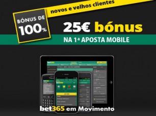 Experimenta a Bet365 Mobile e ganha um bónus de 25€
