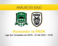 Prognóstico Krasnodar PAOK (22 setembro 2020)