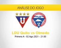 Prognóstico LDU Quito Olmedo (02 agosto 2021)