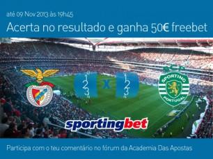 Acerta no resultado do Benfica vs Sporting e ganha 50€