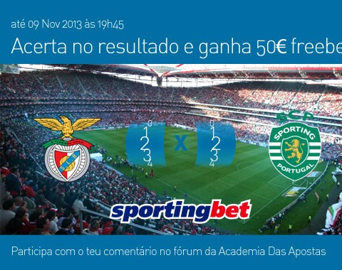 Acerta no resultado do Benfica vs Sporting e ganha 50€