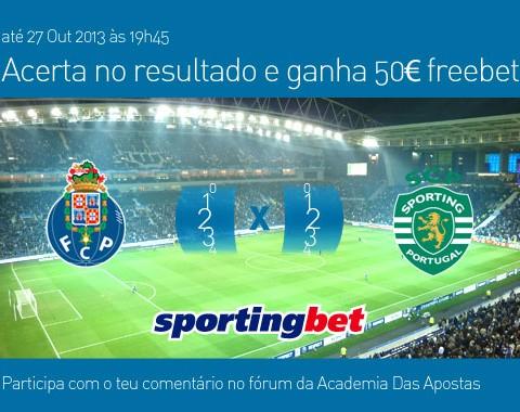 Acerta no resultado do Porto vs Sporting e ganha um prémio de 50€