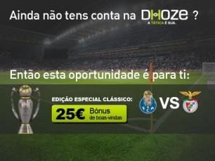 Bónus de boas-vindas especial clássico Porto vs Benfica na Dhoze