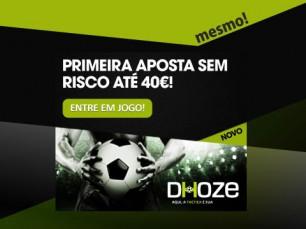 Bónus de boas-vindas: na Dhoze a primeira aposta é mesmo sem risco até 40€