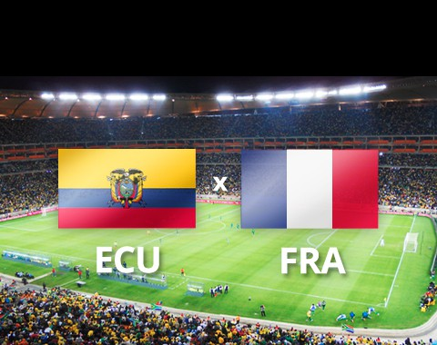 Equador vs França: gauleses para confirmar primeiro lugar do grupo