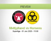 Midtjylland Horsens betting prediction (01 June 2020)
