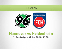 Hannover 96 Heidenheim betting prediction (07 June 2020)