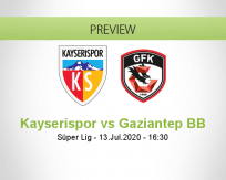 Kayserispor Gaziantep BB betting prediction (13 July 2020)