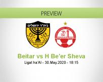 Beitar Jerusalem Hapoel Be'er Sheva betting prediction (30 May 2020)