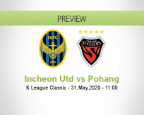 Incheon United Pohang Steelers betting prediction (31 May 2020)