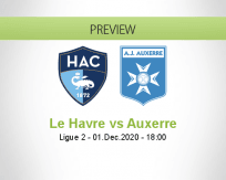 Le Havre Auxerre betting prediction (01 December 2020)