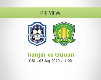 Tianjin Teda Beijing Guoan betting prediction (06 August 2020)