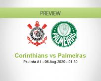 Corinthians Palmeiras betting prediction (06 August 2020)