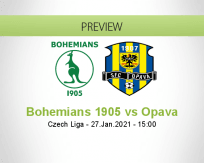 Bohemians 1905 Opava betting prediction (27 January 2021)