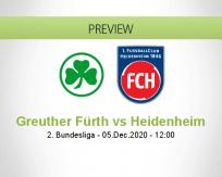 Greuther Fürth Heidenheim betting prediction (05 December 2020)