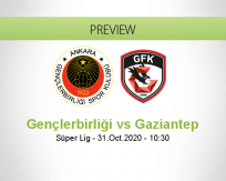 Gençlerbirliği Gaziantep FK betting prediction (31 October 2020)