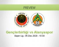 Gençlerbirliği Alanyaspor betting prediction (05 December 2020)