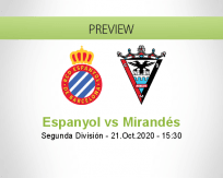 Espanyol Mirandés betting prediction (21 October 2020)