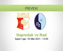 Napredak Rad betting prediction (03 March 2021)