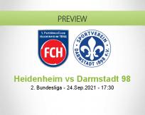 Heidenheim Darmstadt 98 betting prediction (24 September 2021)