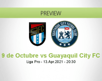 9 de Octubre Guayaquil City FC betting prediction (13 April 2021)