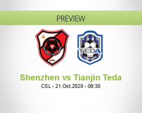 Shenzhen Tianjin Teda betting prediction (21 October 2020)