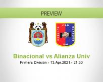 Binacional Alianza Univ betting prediction (13 April 2021)