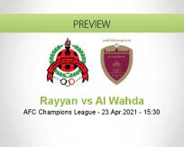 Rayyan Al Wahda betting prediction (23 April 2021)