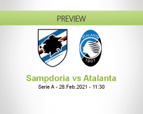 Sampdoria Atalanta betting prediction (28 February 2021)