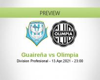 Guaireña Olimpia betting prediction (16 April 2021)