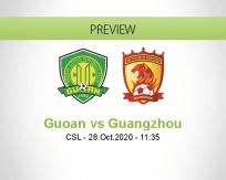 Beijing Guoan Guangzhou Evergrande betting prediction (28 October 2020)