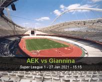 AEK Giannina betting prediction (27 January 2021)