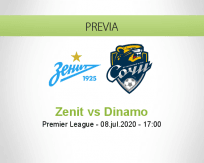Pronóstico Zenit San Petersburgo Dinamo San Petersburgo  (08 julio 2020)