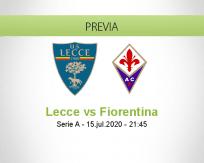 Pronóstico Lecce Fiorentina (15 julio 2020)