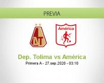 Pronóstico Deportes Tolima América de Cali (26 septiembre 2020)