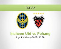 Pronóstico Incheon United Pohang Steelers (31 mayo 2020)