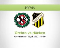 Pronóstico Örebro Häcken (02 julio 2020)