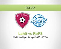 Pronóstico FC Lahti RoPS Rovaniemi (14 agosto 2020)