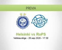 Pronóstico HJK RoPS (28 septiembre 2020)