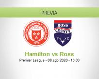 Pronóstico Hamilton Academical Ross County (08 agosto 2020)