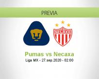 Pronóstico Pumas UNAM Necaxa (26 septiembre 2020)