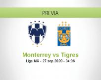 Pronóstico Monterrey Tigres UANL (26 septiembre 2020)