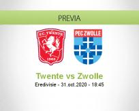 Pronóstico Twente PEC Zwolle (31 octubre 2020)